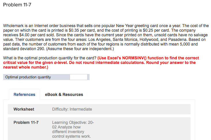 problem 11 7 wholemark is an internet order business that sells one popular new year