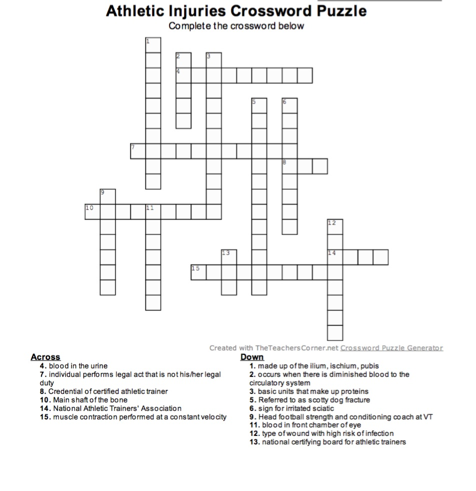 Athletic Injuries Crossword Puzzle Complete The Below 10 12 15 Created With TheTeachersCorner