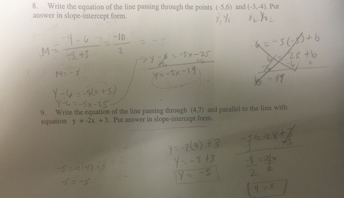 Solved Write The Equation Of The Line Passing Through The