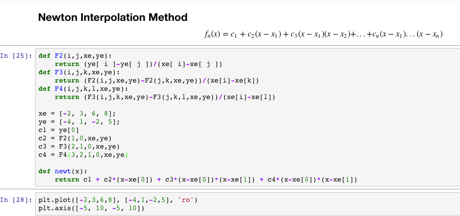 Solved: Python Code  Newton Interpolation Method  I Am Try