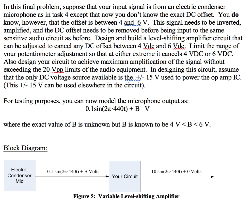 Solved In This Final Problem Suppose That Your Input Sig Condenser Microphone Circuit Signal Is From An Electric