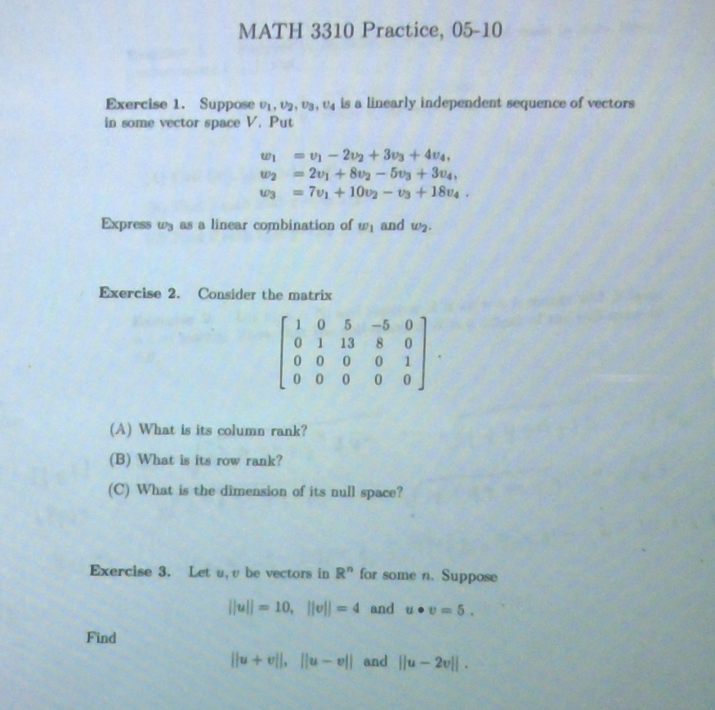 Solved: MATH 3310 Practice, 05-10 Exercise 1. Suppose O, 2 ...