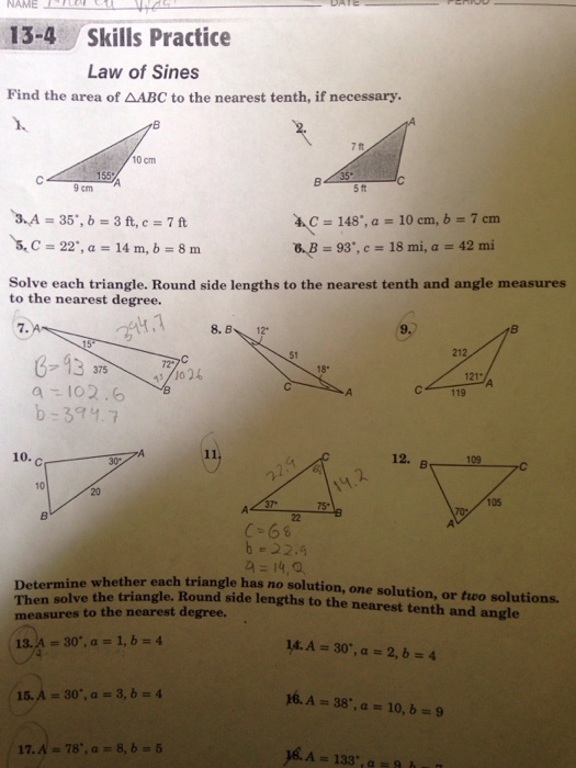 Solved Name 13 4 Skills Practice Law Of Sines Find The Ar
