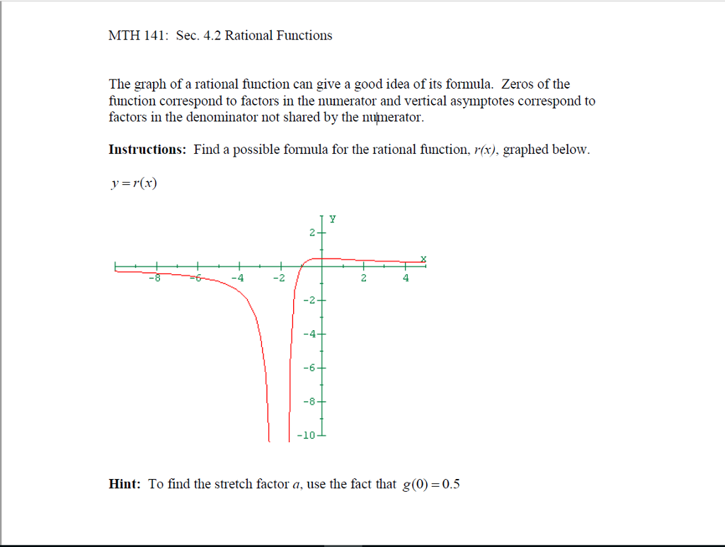 solved: the graph of a rational function can give a good i