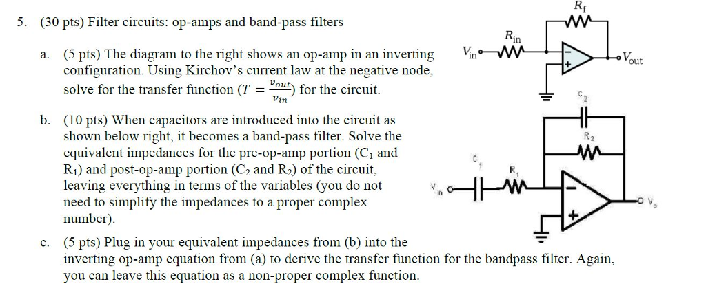 Solved Filter Circuits Op Amps And Band Pass Filters The