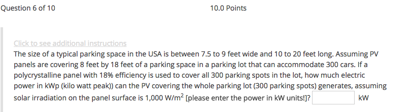 Solved: The Size Of A Typical Parking Space In The USA Is