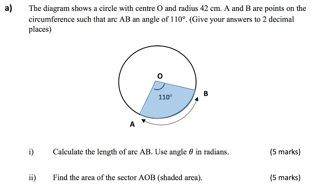 Solved a the diagram shows a circle with centre o and ra a the diagram shows a circle with centre o and radius 42 cm a ccuart Image collections