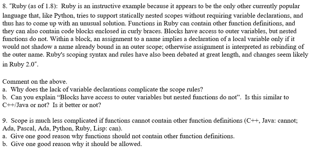 Solved Ruby As Of 18 Ruby Is An Instructive Example