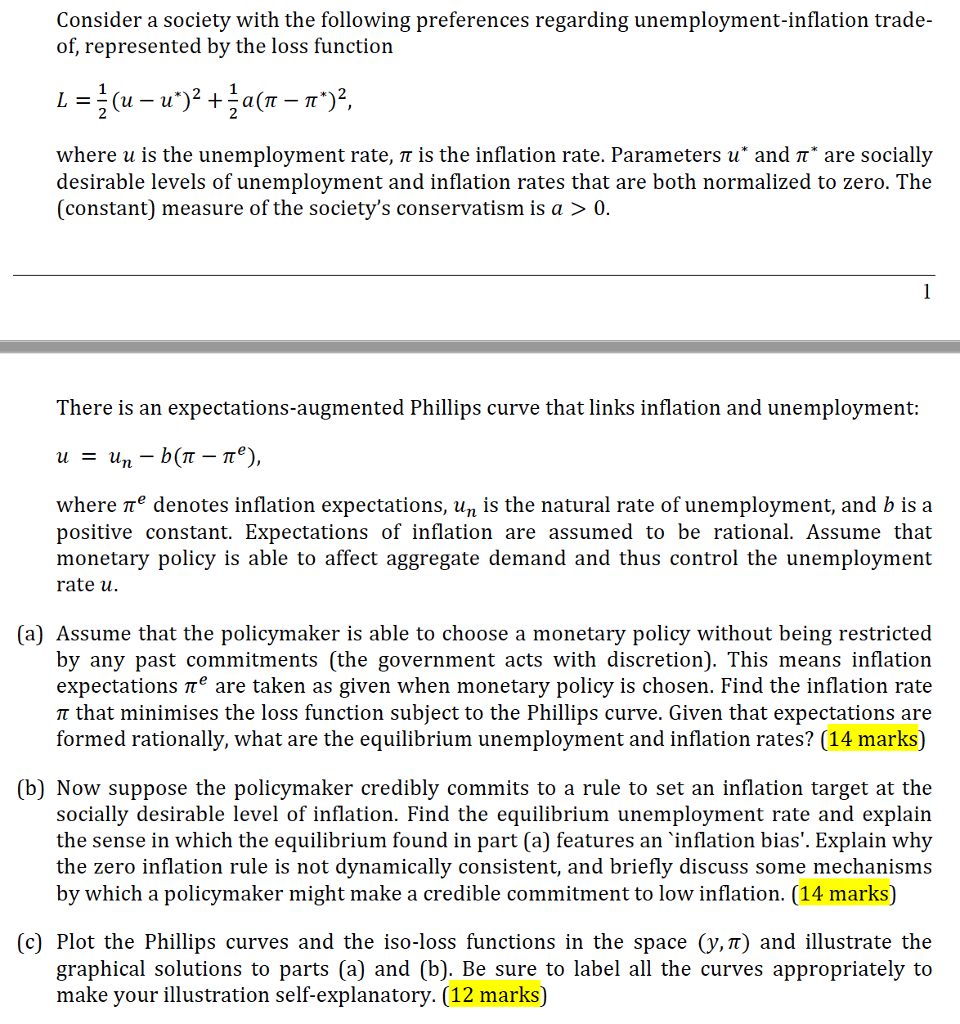 economics archive com consider a society the following preferences regarding unemployment inflation trade of represented by the loss function l 1 2 u u ^2 1 2 a pi