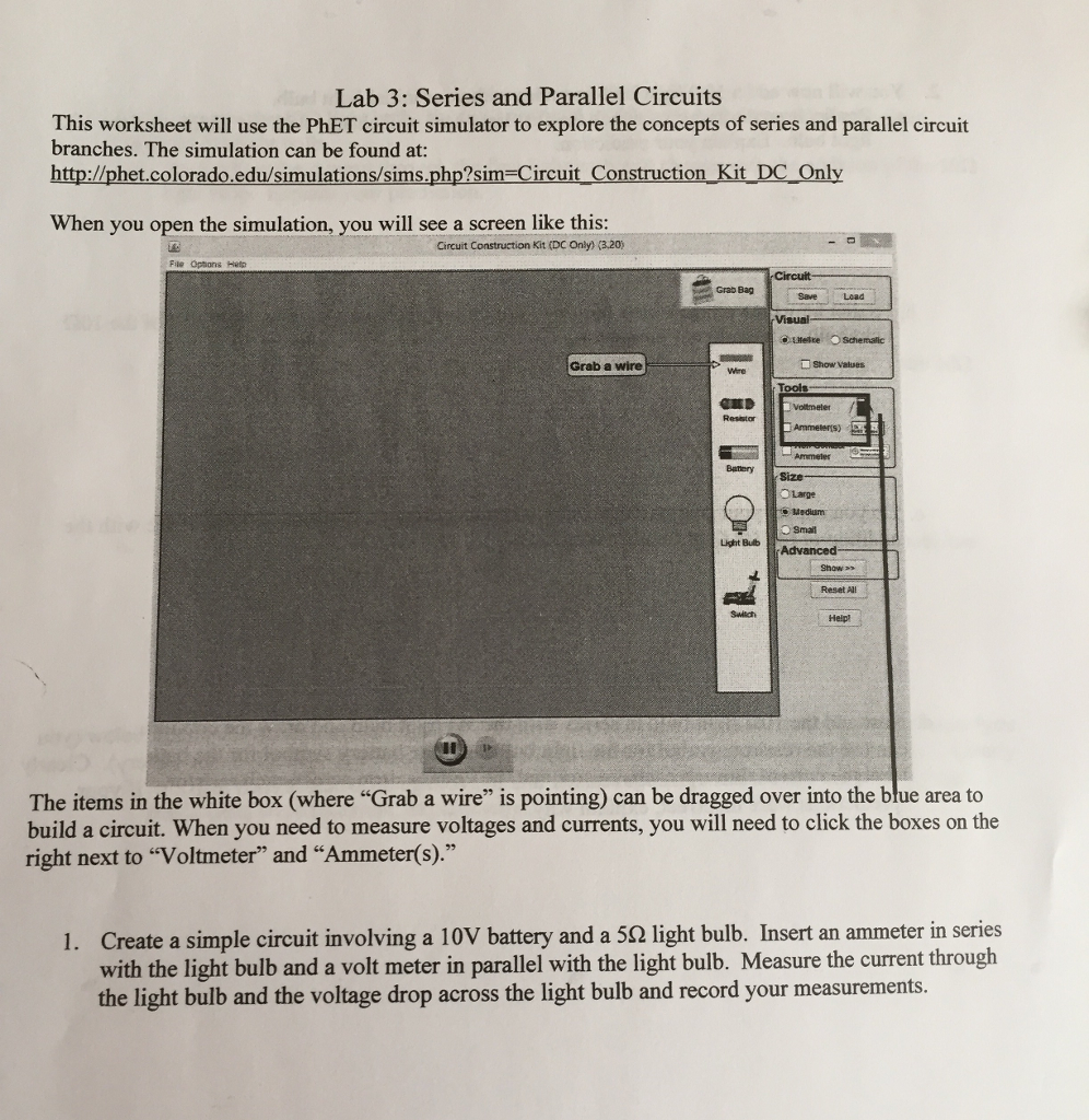 Solved: Lab 3: Series And Parallel Circuits This Worksheet