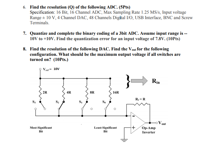 Solved: 6  Find The Resolution (Q) Of The Following ADC
