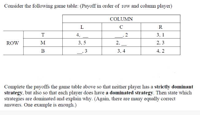 Answer The Questions Completely Consider The Following Game Table: (Payoff  In Orde