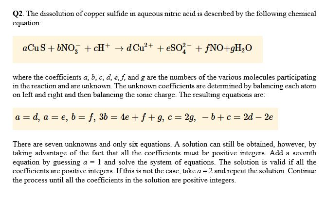 Solved: 2  The Dissolution Of Copper Sulfide In Aqueous Ni