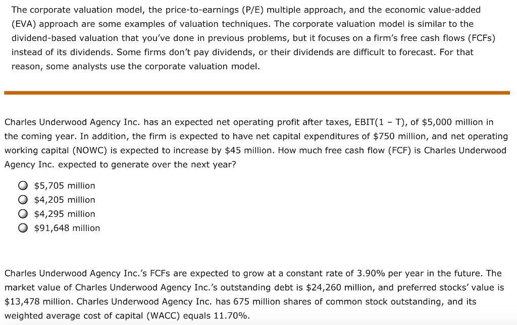 the corporate valuation model