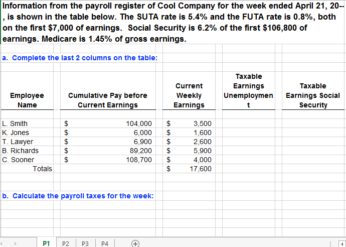 solved information from the payroll register of cool comp