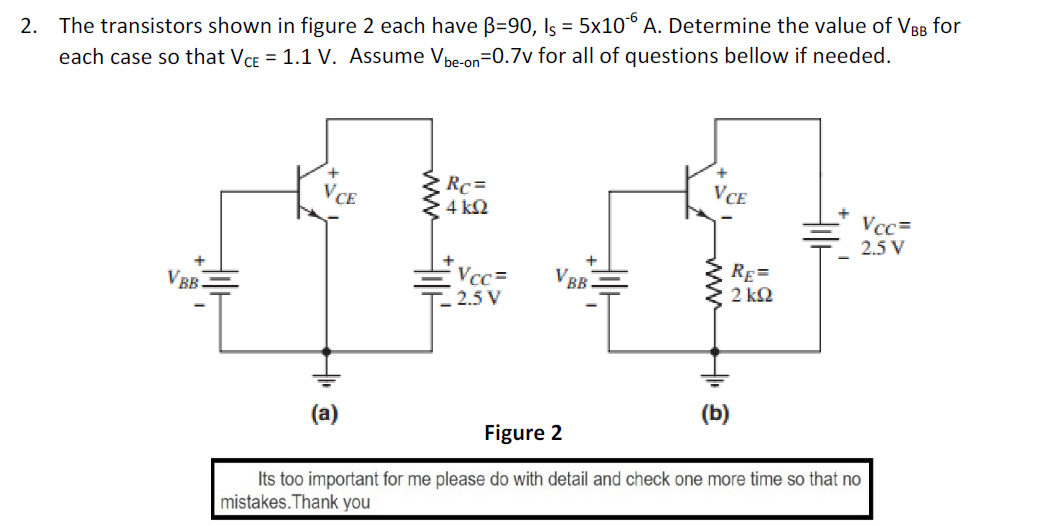 The transistors shown in figure 2 each have beta =