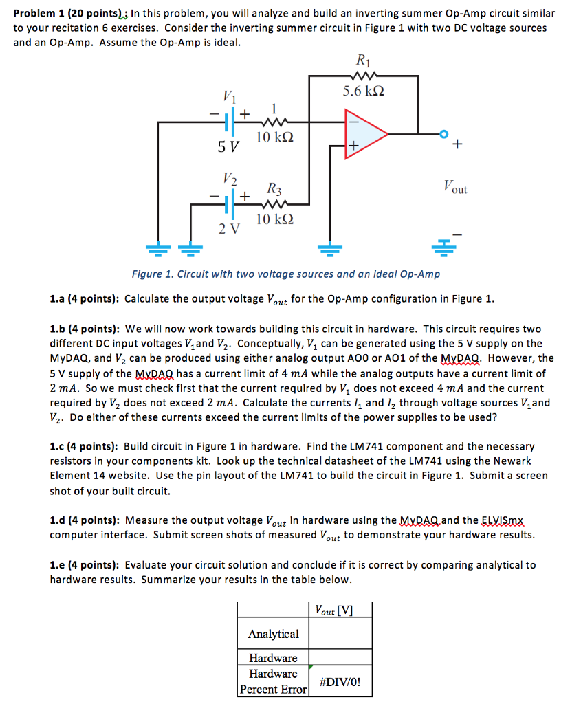 Solved In This Problem You Will Analyze And Build An Inv Operational Amplifier Circuit Analysis 1 20 Points