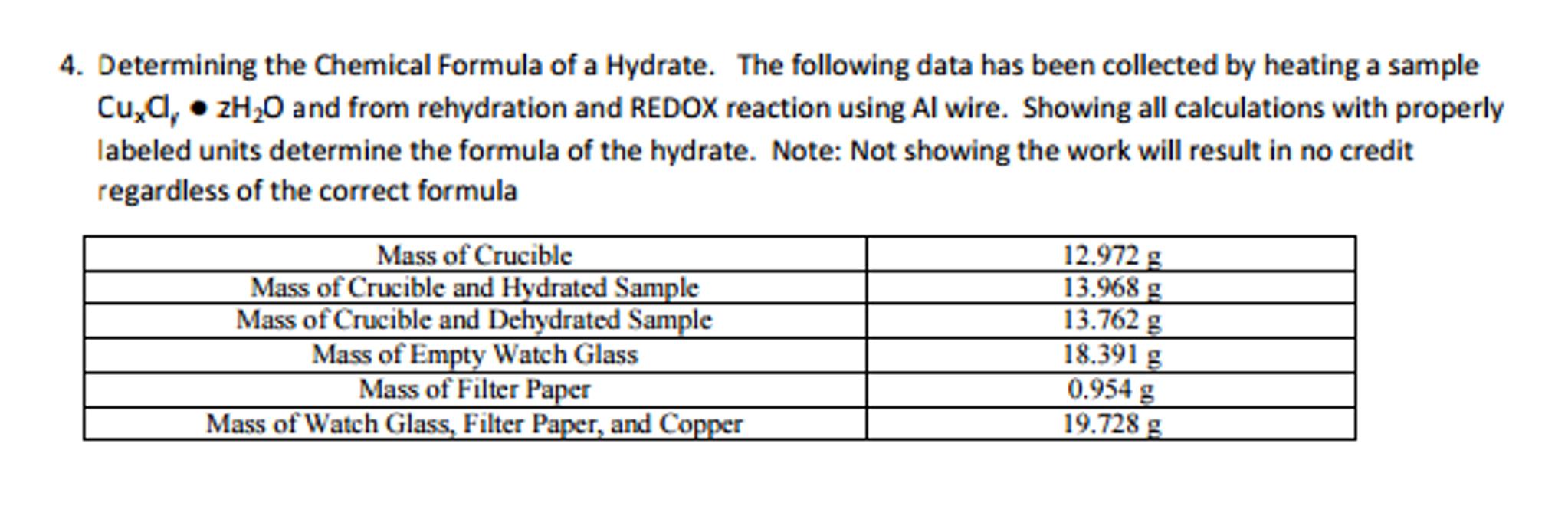 chem empirical formula of a hydrate