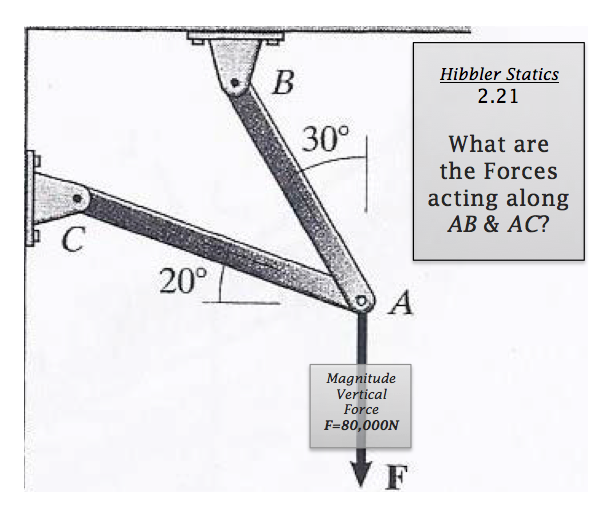 20° Hibbler Statics 2.21 30o What are the Forces a