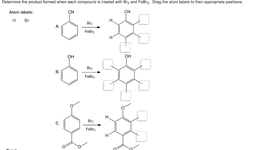 Solved determine the product formed when each compound is determine the product formed when each compound is treated with br2 and febr3 drag the ccuart Images