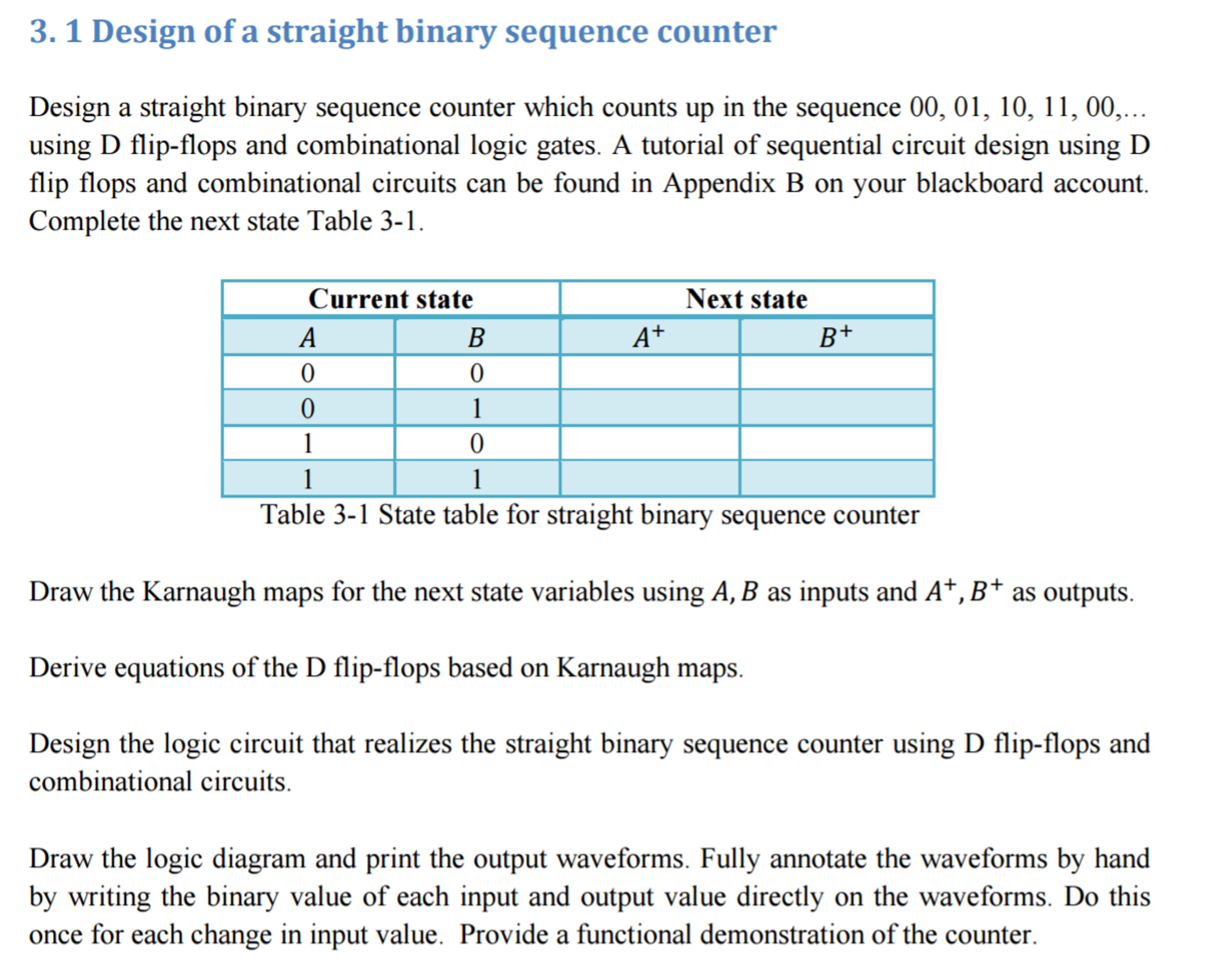 Solved: Design A Straight Binary Sequence Counter Which Co