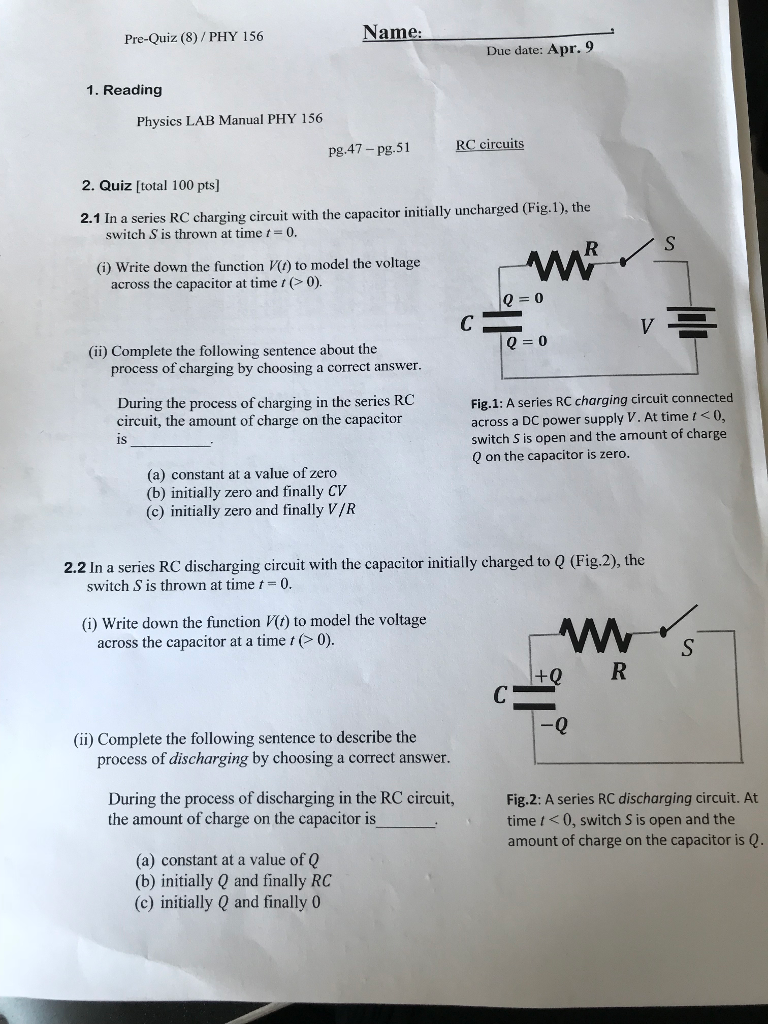 Solved: Name Pre-Quiz (8) PHY 156 Due Date: Apr. 9 1. Read ...