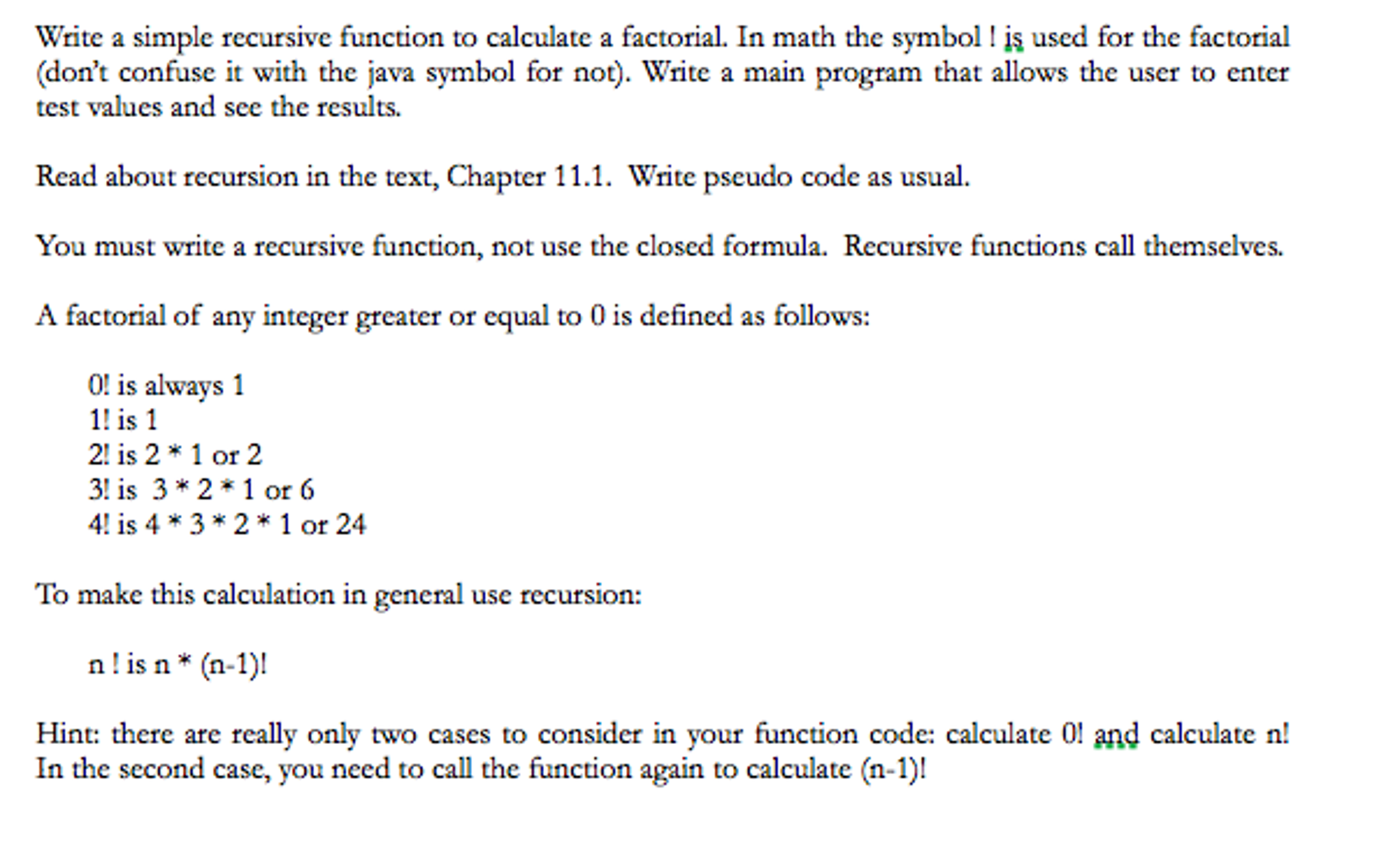 Solved Write A Simple Recursive Function To Calculate A F