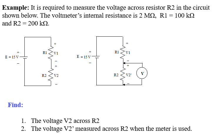 solved example it is required to measure the voltage acrexample it is required to measure the voltage across resistor r2 in the circuit shown