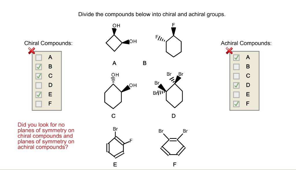 Solved Divide The Compounds Below Into Chiral And Achiral