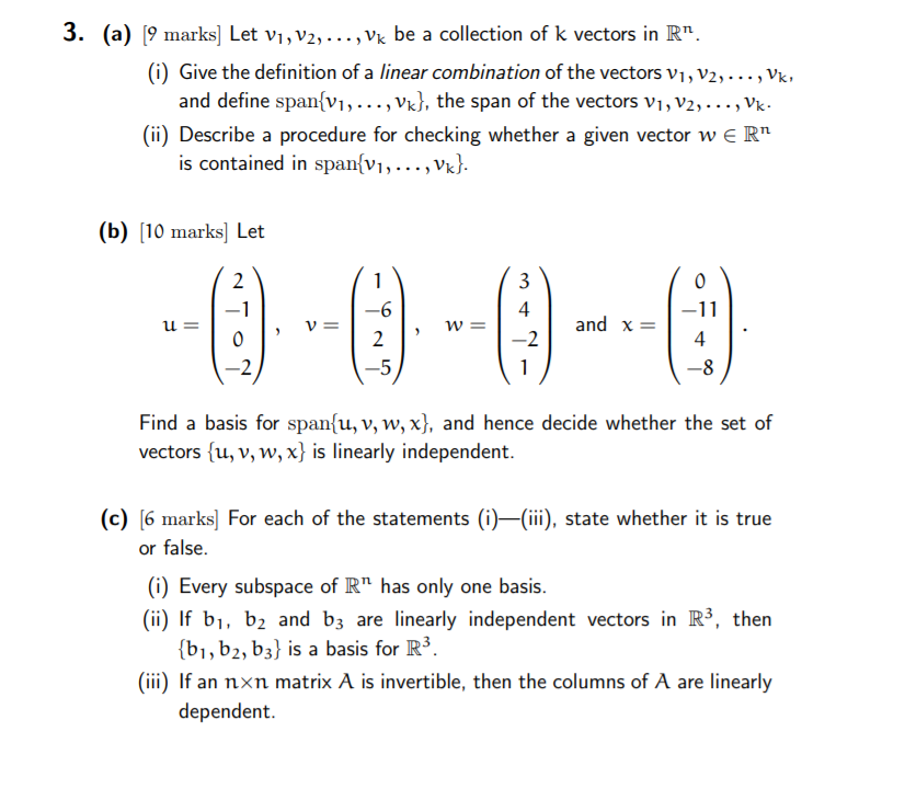 Solved: 3  (a) [9 Marks] Let Vi,V2,    , Vk Be A Collectio