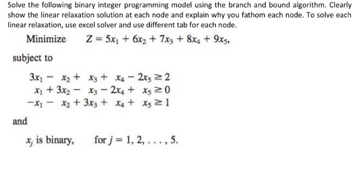 Solve The Following Binary Integer Programming Mod    | Chegg com