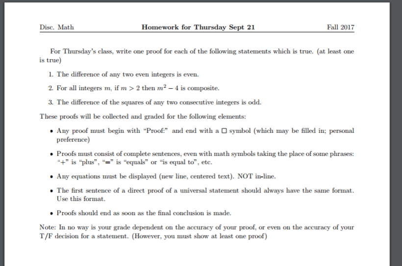 Solved Disc Math Homework For Thursday Sept 21 Fall 2017