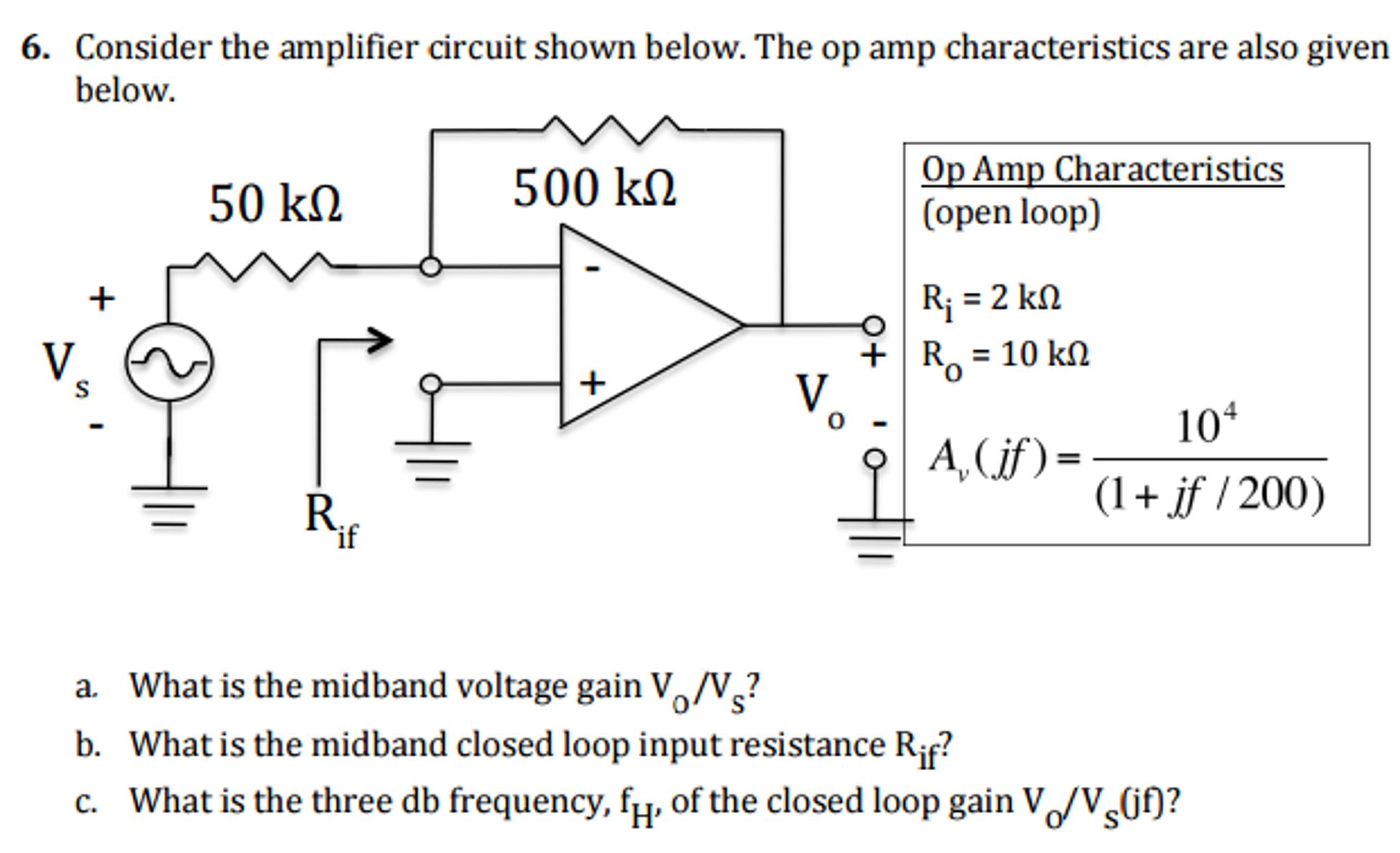 Solved Consider The Amplifier Circuit Shown Below Op Open Characteristics