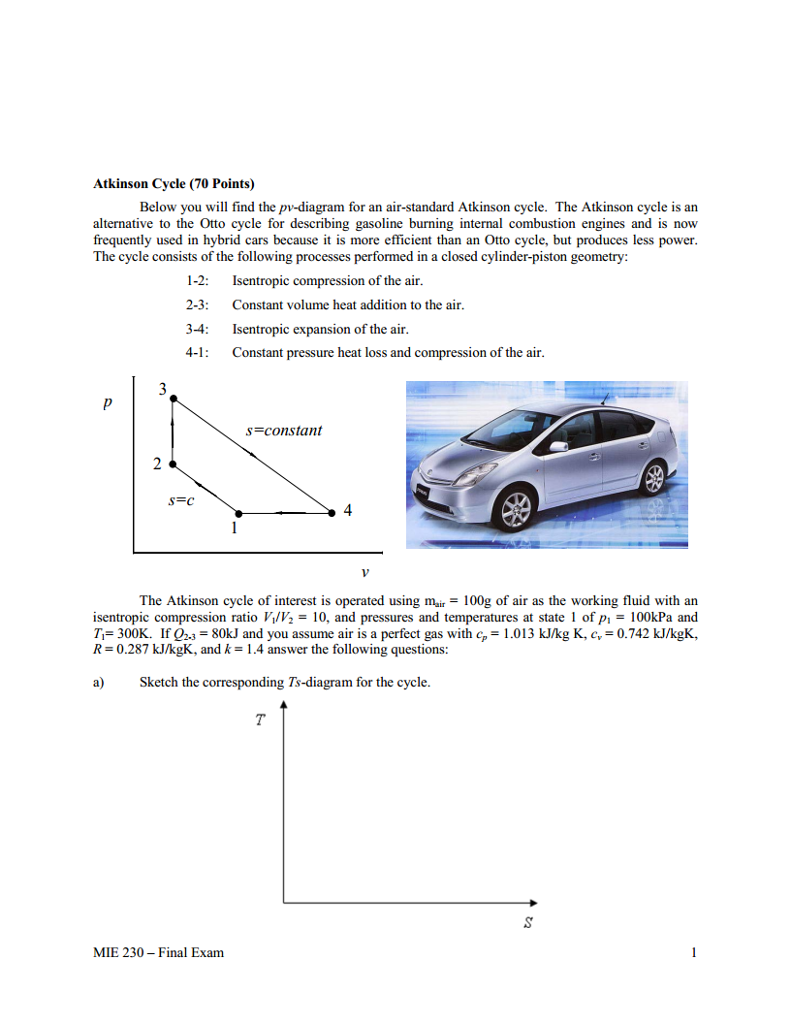 Atkinson Cycle (70 Points) Below you will find the pv-diagram for an