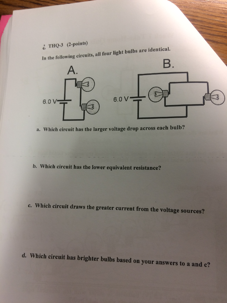 Solved In The Following Circuits All Four Light Bulbs Ar Question Are Identical A Which Circuit Has Larger V