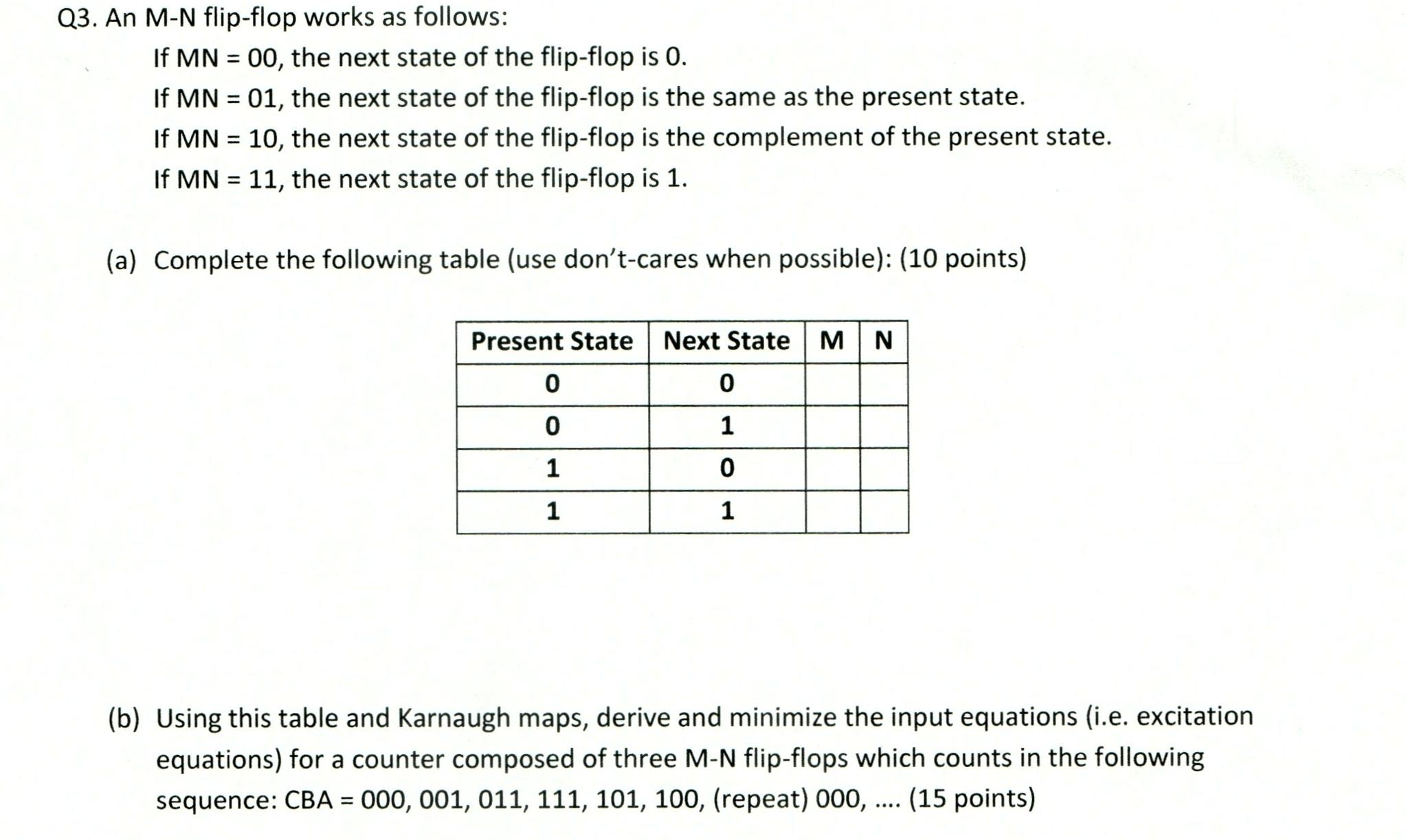 79d0c9a260d1a1 Solved  An M - N Flip - Flop Works As Follows  If MN   00 ...