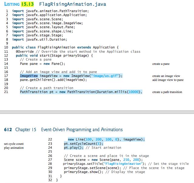 Solved: JavaFX - (Raise Flags) - Rewrite Listing 15 13 Usi