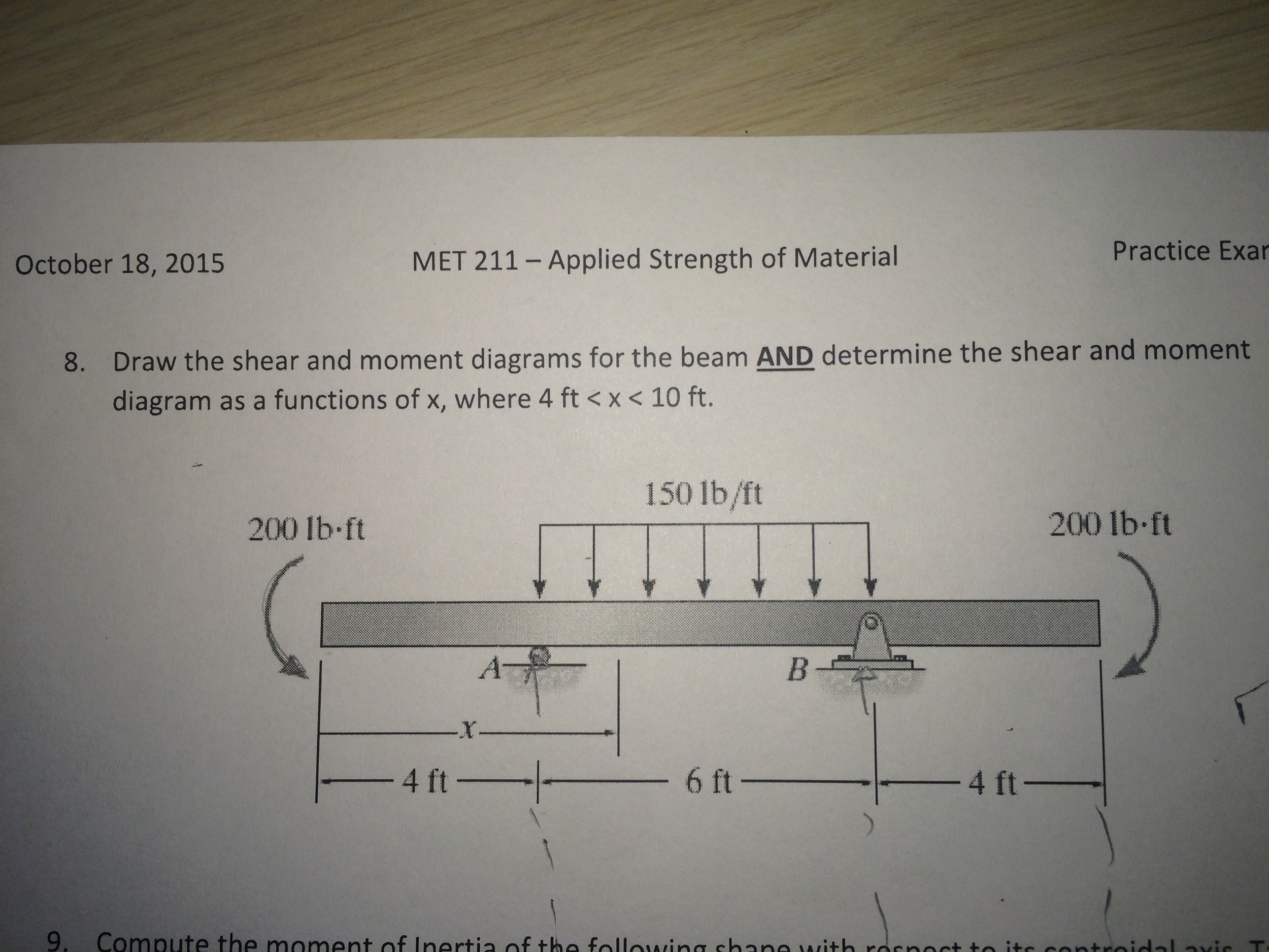 Draw The Shear And Moment Diagrams For Beam An Beams Bending Force Diagram Calculator