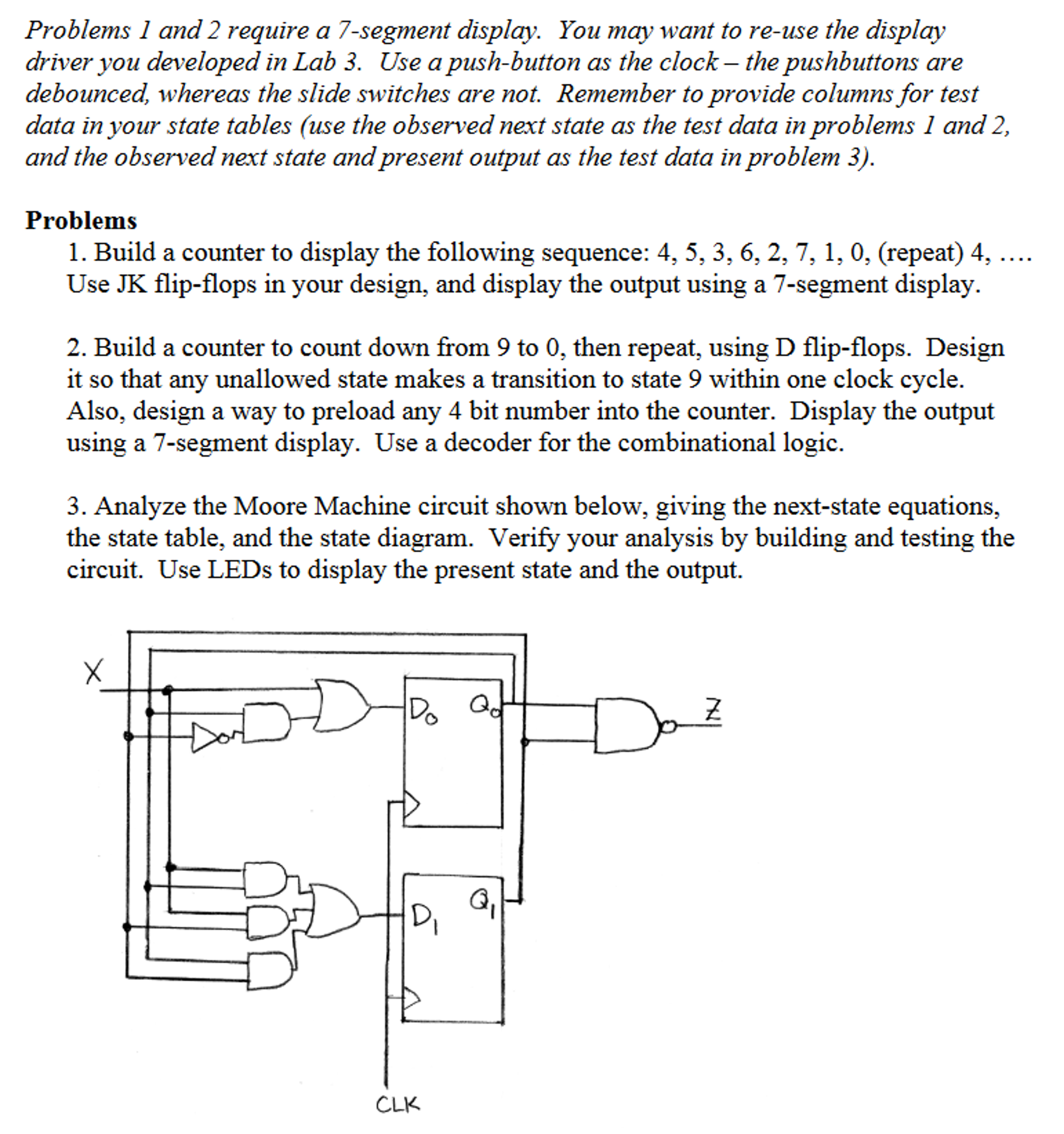 Solved Problems 1 And 2 Require A 7 Segment Display You 4 Bit Counter Logic Diagram