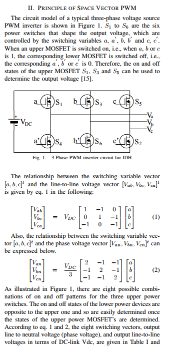 Solved: II  PRINCIPLE OF SPACE VECTOR PWM The Circuit Mode