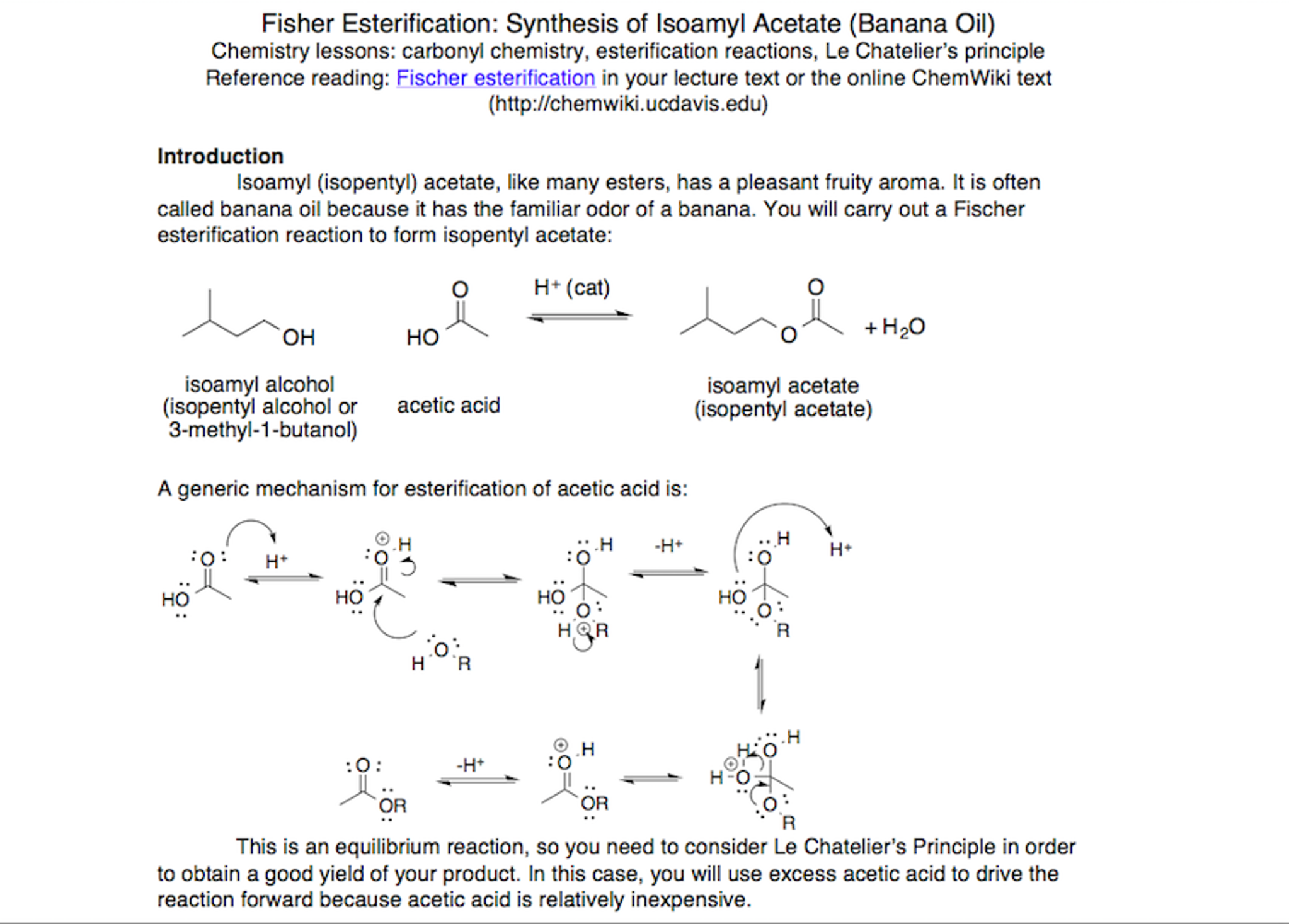 isoamyl acetate synthesis from fischer reaction Ch243 synthesis of esters (3/11) 1 ch243: lab 4 synthesis of artificial flavorings by fischer esterification isoamyl acetate 3 oil of spruce 2.