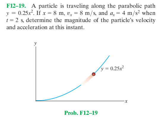 A particle is traveling along the parabolic path y