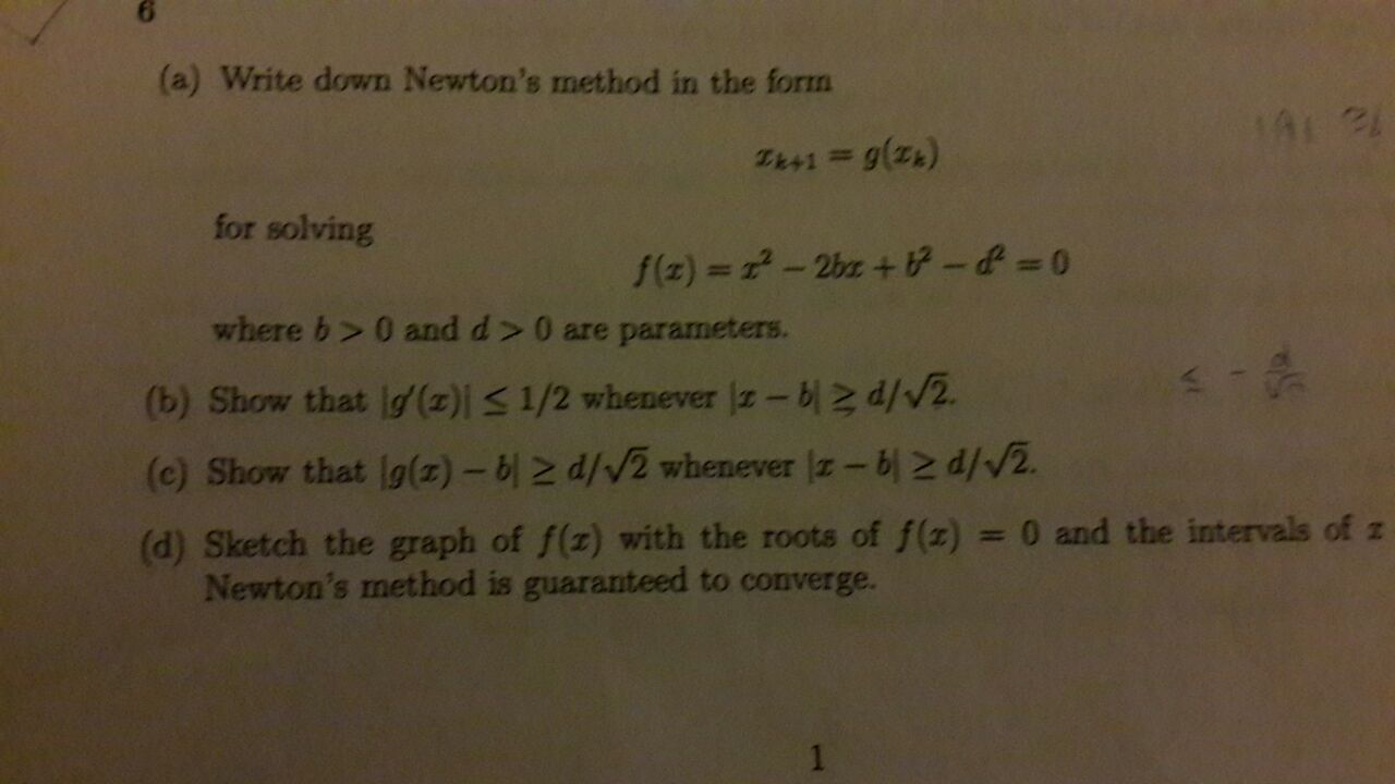 solved write down newton s method in the form x k 1 g