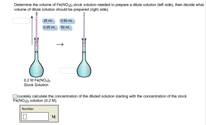 solved determine the volume of fe no 3 3 stock solution rh chegg com Dilution Example dilute solution viscosity diagram