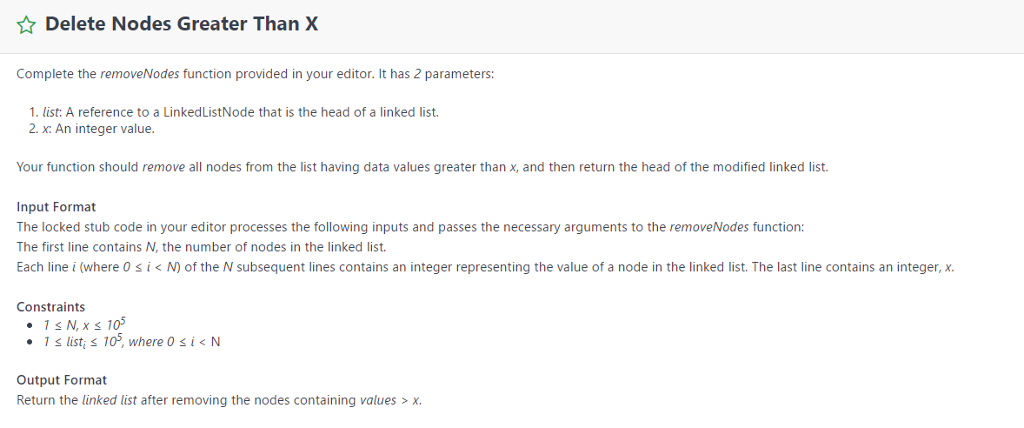 Solved: Delete Nodes Greater Than X Complete The RemoveNod