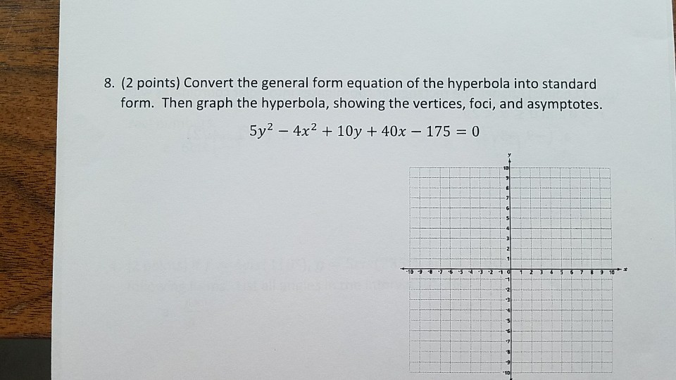 Solved 8 2 Points Convert The General Form Equation Of