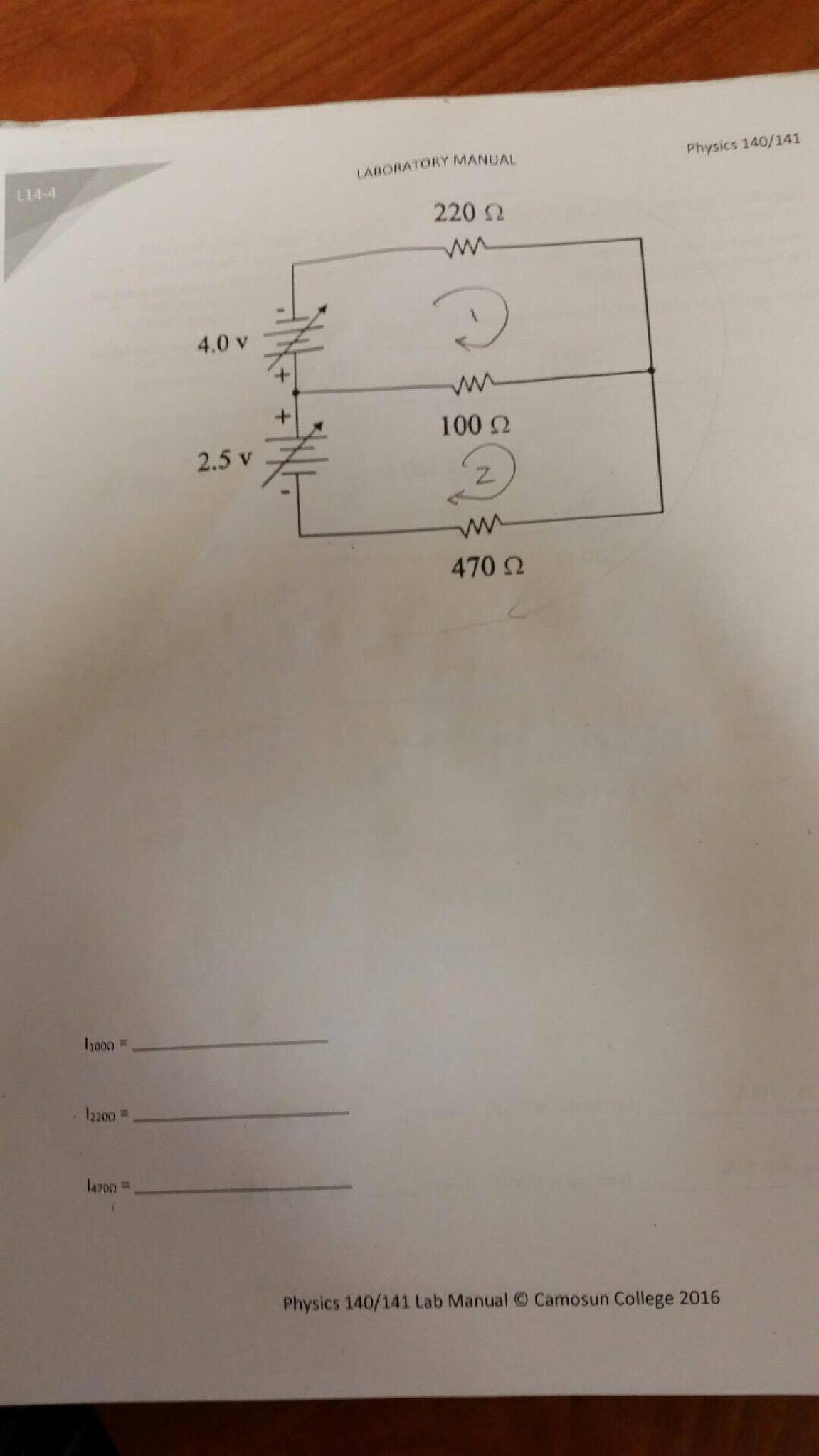 Physics 140/141 LABORATORY MANUAL し14-4 220 Ω 4.0 V 100 Ω