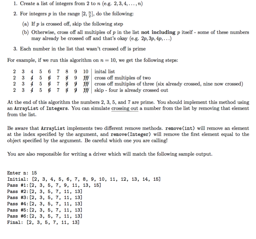Solved Create A List Of Integers From 2 To N Eg 2 3
