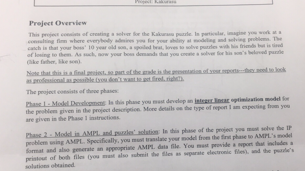 Project: Kakurasu Project Overview This Project Co... | Chegg.com