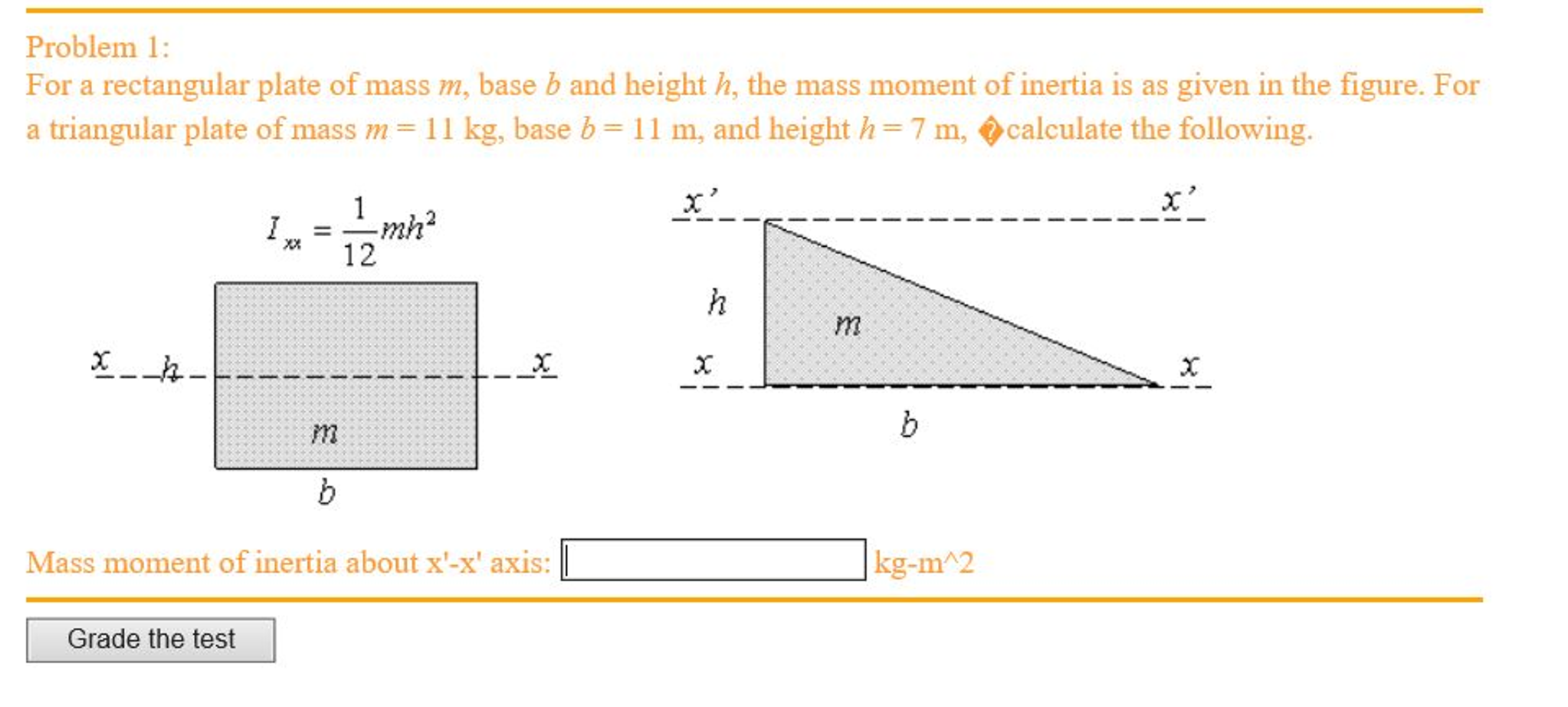 Solved: For A Rectangular Plate Of Mass M, Base B And Heig